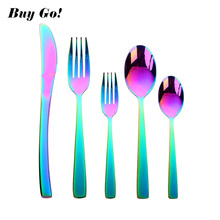 20Pcs/Lot Iridescent Rainbow Cutlery Set Dinner Knife Colored Stainless Steel Multicolor Dinnerware Silverware Service for 4