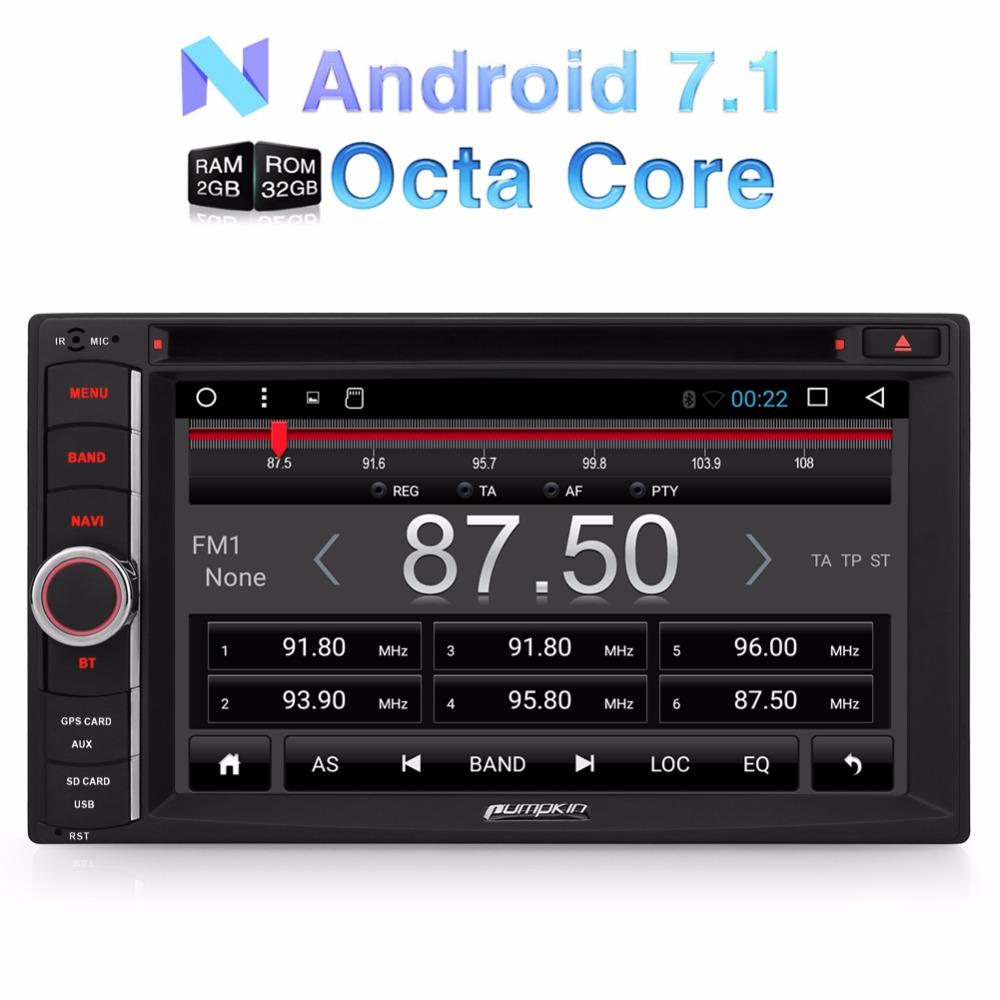 Pumpkin 2 Din 7'' Android 7.1 Car DVD Player GPS Navigation Qcta-Core Bluetooth Car Stereo Wifi 3G DAB+ FM Rds Radio Headunit android 8 0 2 din 7 universal car radio no dvd player gps navigation 4gb ram car stereo fm rds wifi 4g dab headunit