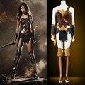 Receptor de alta calidad de la película de batman v superman hero: amanecer de justicia wonder woman para adultos cosplay traje de la mujer maravilla traje