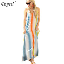 Women Sexy Maxi Dress Summer V Neck Loose Boho Long Colorful Striped Print Harajuku Dresses Halter Casual  Sundress