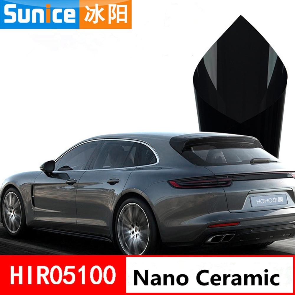 Anti-UV 2mil Noir Nano Céramique film pour vitre Solaire Teinte 5% VLT Wrap Buliding Auto-voiture Côté/Arrière Pare-Brise Auto -adhésif 1.52*60 m