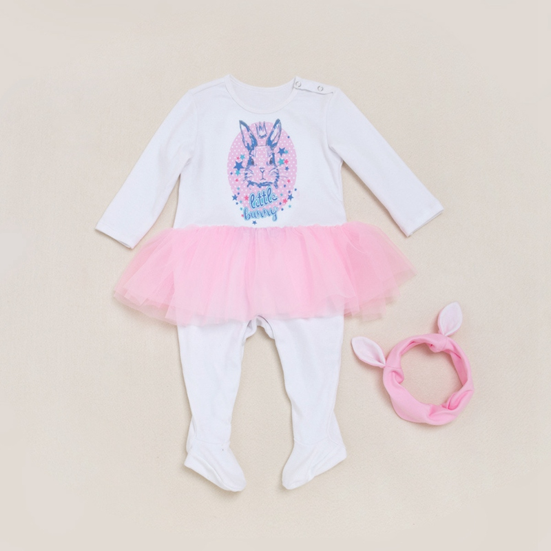 Cute Rabbit Newborn Girls Clothing Baby Rompers Headband 2pcs Cotton Baby Clothes Set Ruffles Infant Jumpsuit Festival Outfits