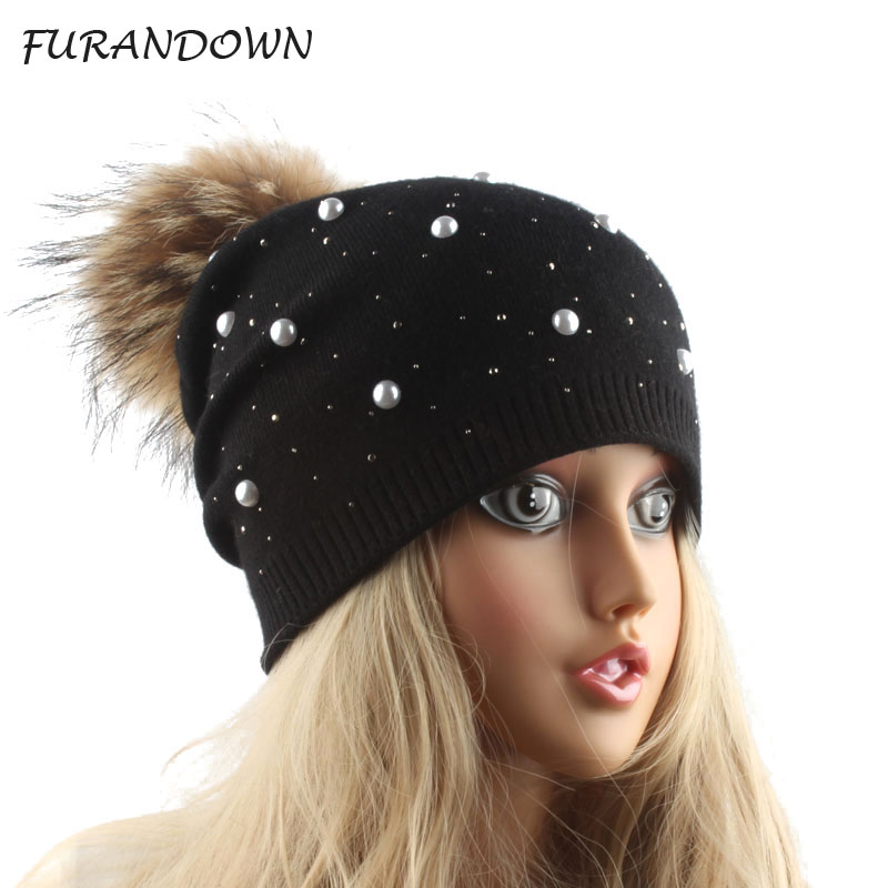 real fur pom pom hat winter hats for women pearl wool knitted hat women's winter cap rhinestone   skullies     beanies