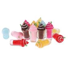 2Pcs Cute Dollhouse Miniature Drink Ice Cream Cups Set Model Pretend P