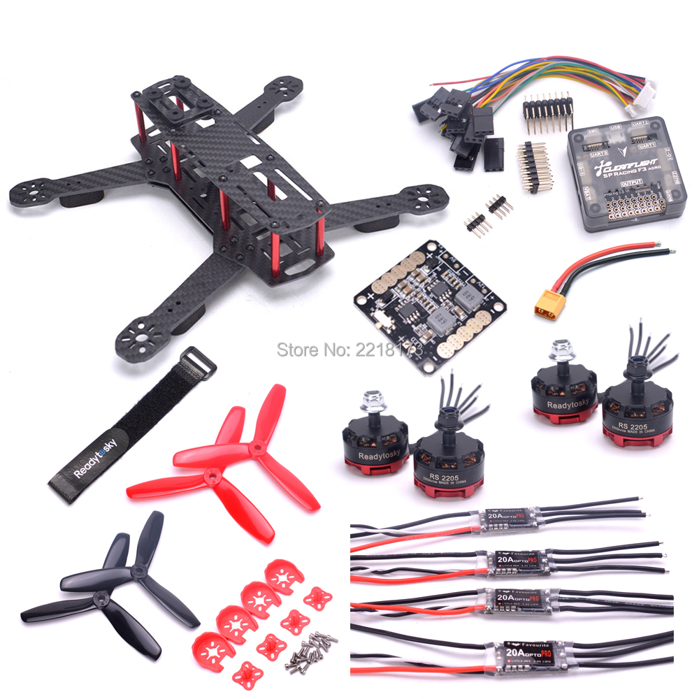 цена на ZMR250 250mm with 3mm arm Quadcopter Frame F3 Acro flight controller RS2205 2300kv 2-4S motor 20A BLHeli-S 2-4S / Littlebee ESC