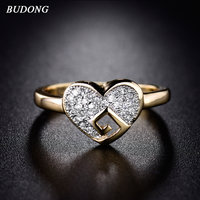 BUDONG New Arrival Heart Love Finger Band for Women Gold-Color Ring Pave Crystal Cubic Zirconia Wedding Luxury Jewelry XUR284