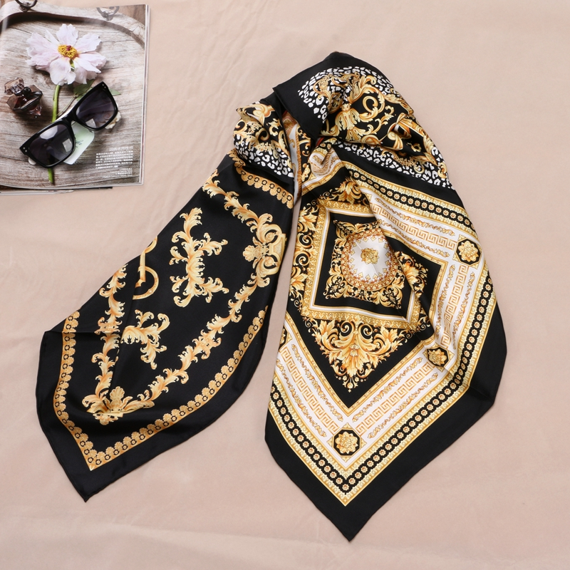 Fashion Prints 100% Silk Scarf Shawl Womens High Quality Hijab Head Scarves 88X88CM-in Women's Scarves from Apparel Accessories