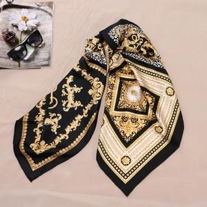 Image 3 - Fashion Prints 100% Silk Scarf Shawl Womens High Quality Hijab Head Scarves 88X88CM