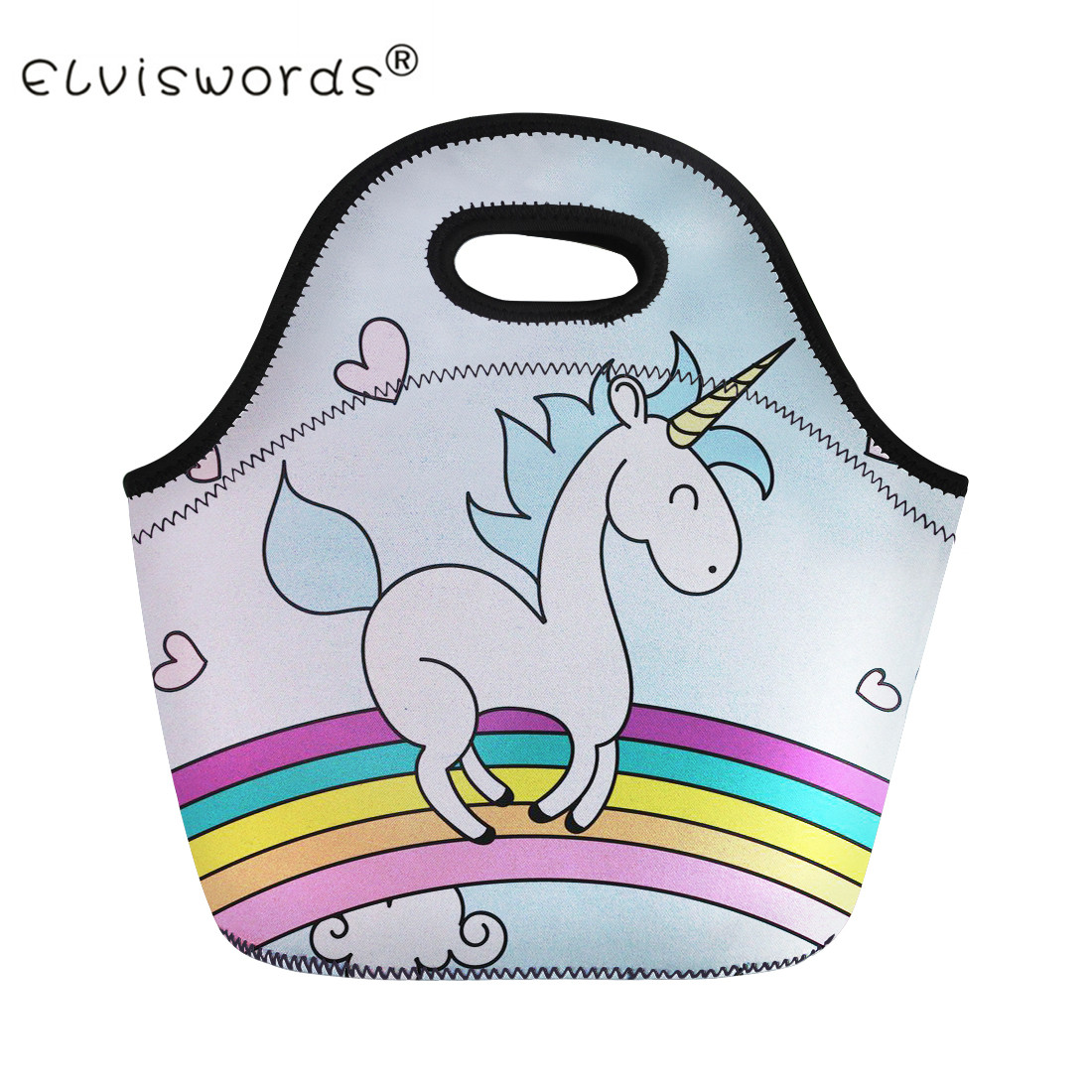 ELVISWORDS Unicorn Women Girls Portable Insulated lunch Bag Student Kids Thermal Food Picnic Bag for Child Cooler Lunch Box Bag