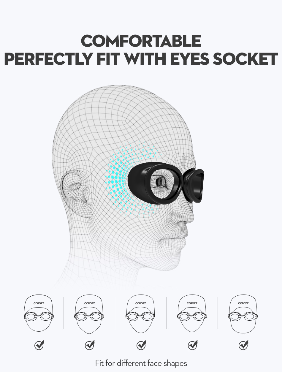 COPOZZ Myopia Pro Diopter Swimming Goggles 0 -1.5 to -8 With Double Anti Fog UV Protection 8