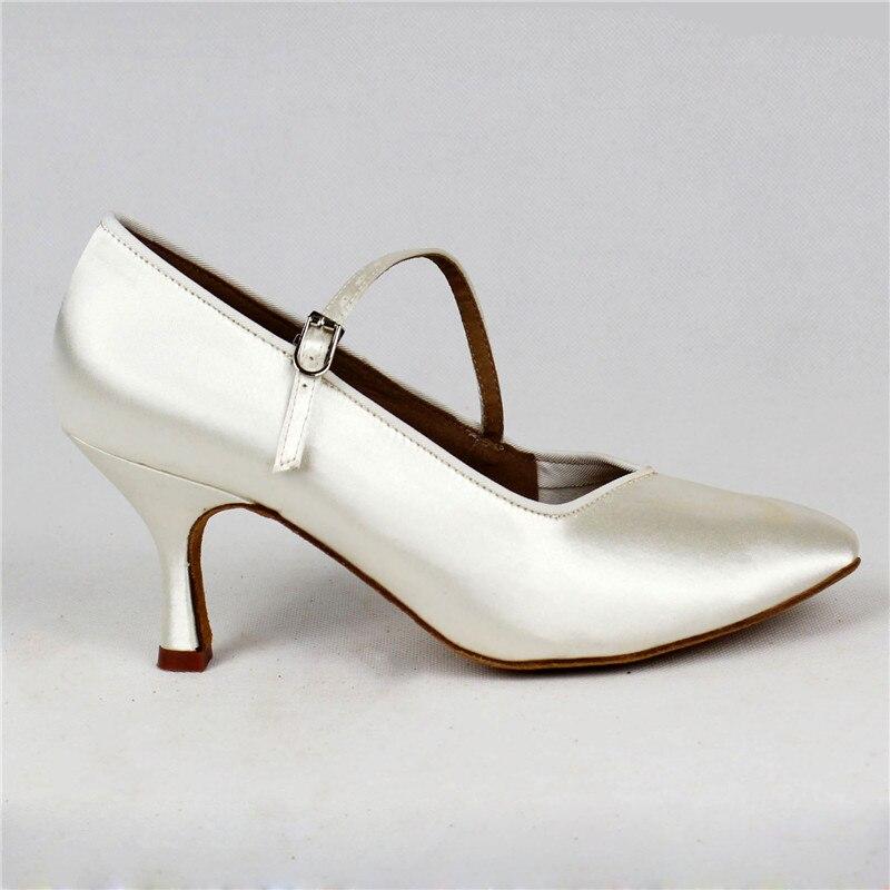 Femmes de Danse Standard BD138 Classique Blanc Satin Dames Salle De Bal chaussures de danse Doux Anti Glissé En Cuir Semelle Haute Talon Profession - 3