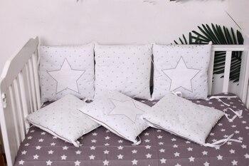 6-15 Pcs/Lot Squqre Lit Pare-chocs avec tours de lit, gris Étoiles infantile lit pare-chocs lit protecter