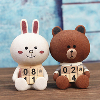 Vintage Mediterranean Style Bear Wood Perpetual Calendar DIY Calendar Art Crafts Home Office School Deskresin Decoration