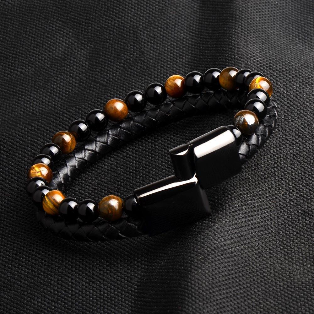 New Fashion Men Jewelry Natural Stone Genuine Leather Bracelet Black Stainless Steel Magnetic Clasp Tiger eye Bead Bracelet Men 5