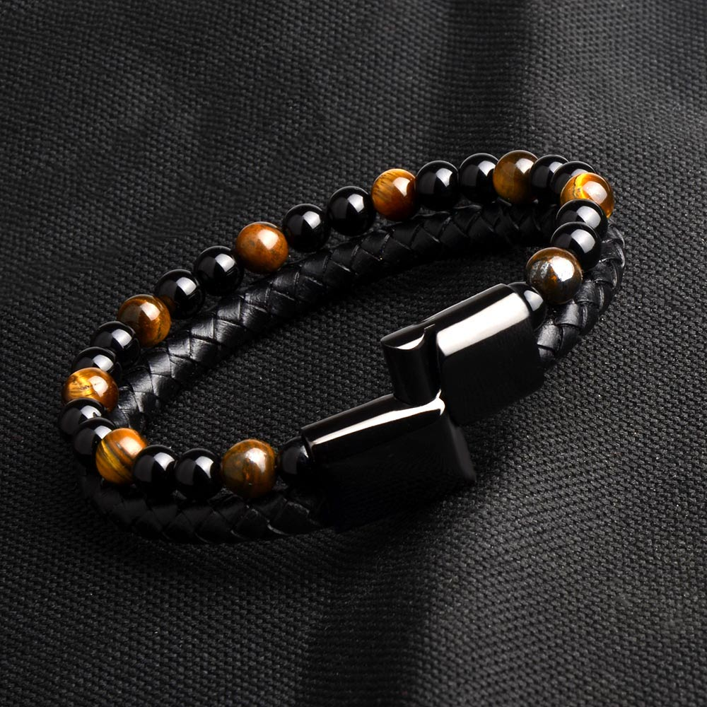 2019 Fashion Men Jewelry Natural Stone Genuine Leather Bracelet Black Stainless Steel Magnetic Clasp Tiger eye
