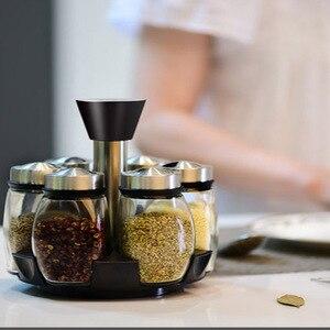 Image 4 - 1 Set Glas Spice Jar Rotierenden Gewürz Box Salz Zucker Pfeffer Shaker Gewürze Lagerung Flasche Halter Küche Gadget