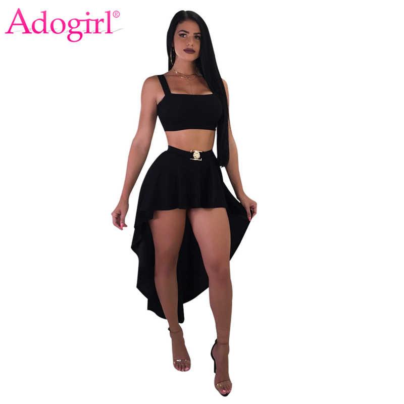 Женское асимметричное платье на бретельках Adogirl, комплект из двух предметов, укороченный Топ без бретелек, юбка макси, сексуальный клубный костюм, наряд