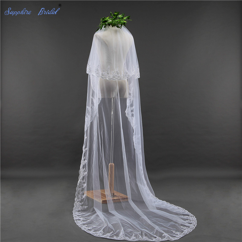 Sapphire Bridal 2 Tiers Long Wedding Veil Velo De Novia 3 Meters Lace Edge Veils With Blusher Free Comb