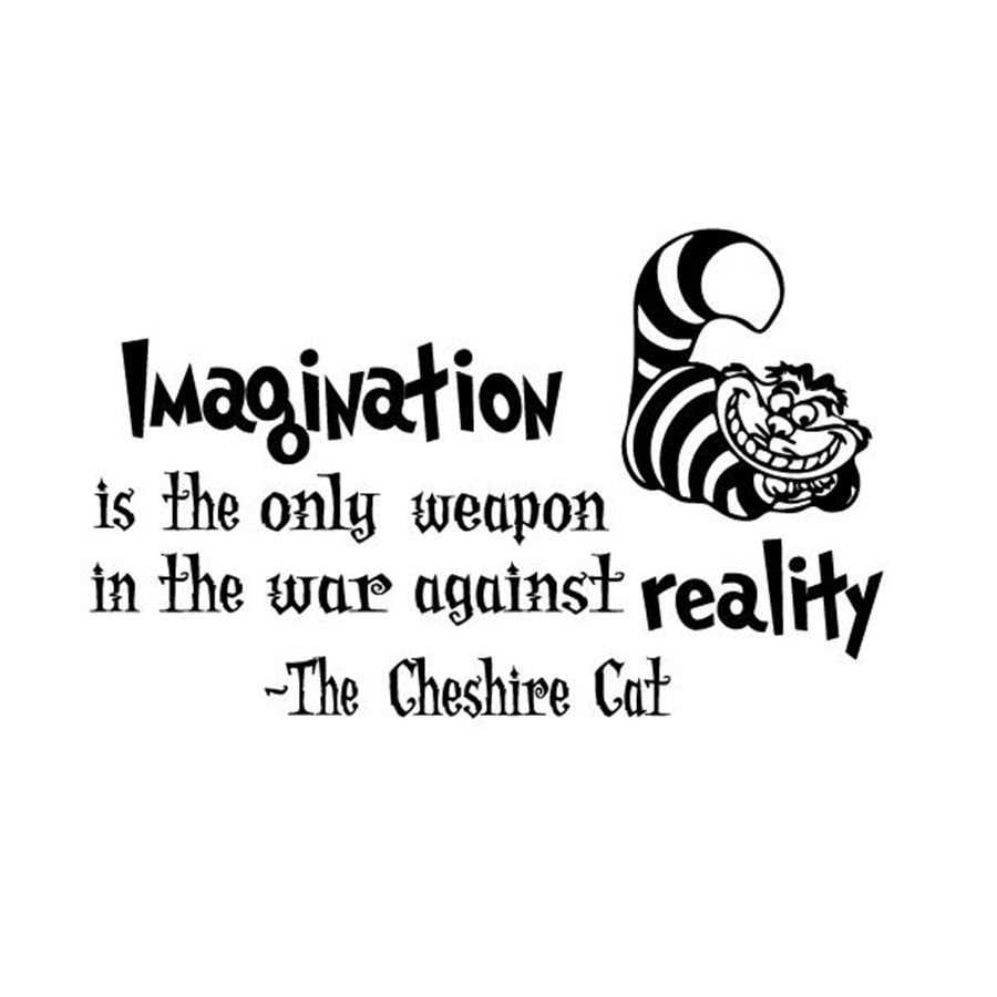 "Alice In Wonderland Quote Alice In Wonderland Wall Decals Cheshire Cat Quotes ""imagination"