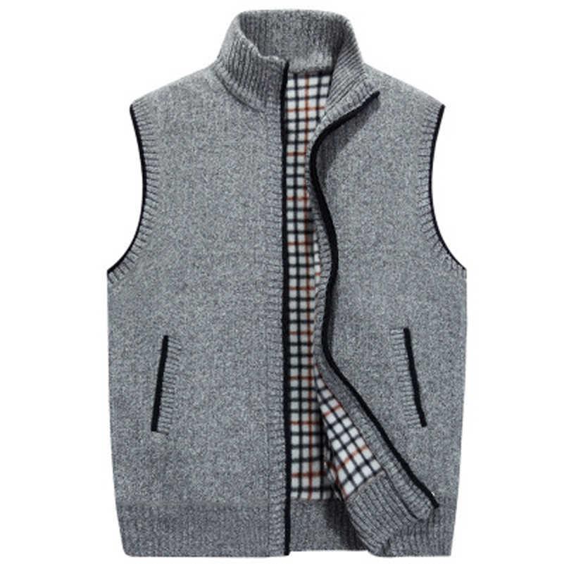 UNIVOS KUNI 2019 бархатистые однотонные теплые детские куртки и кардиганы сезона майка без рукавов из увеличить Для мужчин пальто Для мужчин; повседневная детская одежда; плотная вязанный шерстяной жилет Размер M-3XL WYR34