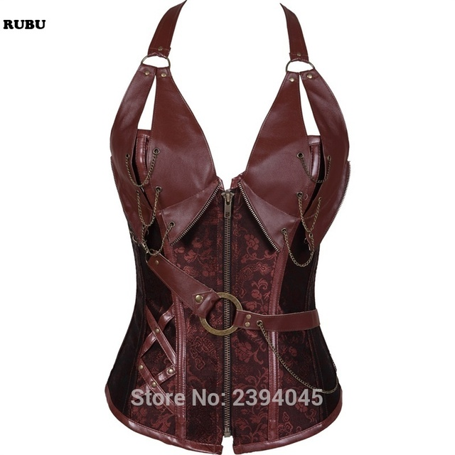 417acb0421cf1 Steampunk Corset brown black Faux Leather Burlesque Clubwear Lace up Boned  with Chains Gothic Clothing Plus Size S-6XL