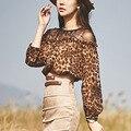 Primavera 2017 das Mulheres terno Do Escritório Bandage Festa Sexy Bodycon Vindima vestidos de leopardo chiffon tops e saia de camurça magro 2 peça conjunto