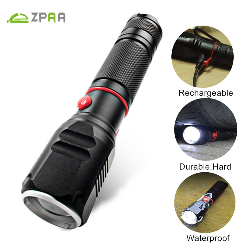 ZPAA Rechargeable Flashlight LED Tactical Flashlight Zoomable CREE XML T6 LED Torch 4000Lumens 3 Modes Waterproof Military Light new 2016 practical 3000 lumens high power led torch cree t6 led flashlight zoomable torch light camp 5 modes tactical flashlight