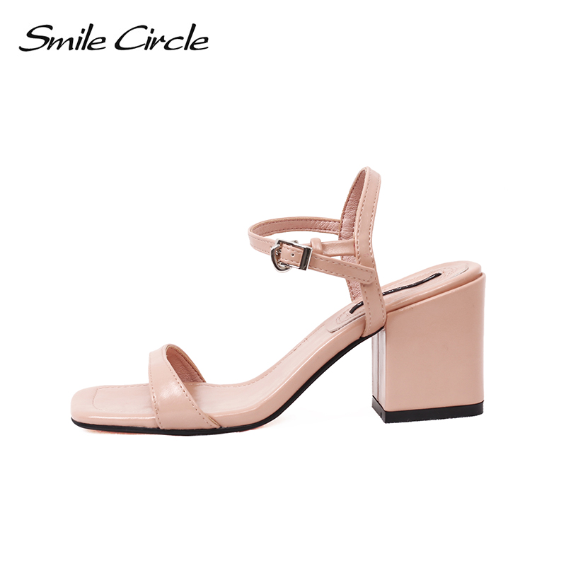 Smile Circle 2018 Summer Sandals Woman High heels shoes Women Square toe High-heeled shoes fashion Cozy Sandals Women Shoes msfair women square toe wedges sandals fashion butterfly crystal high heels woman sandals 2018 new summer women high heel shoes