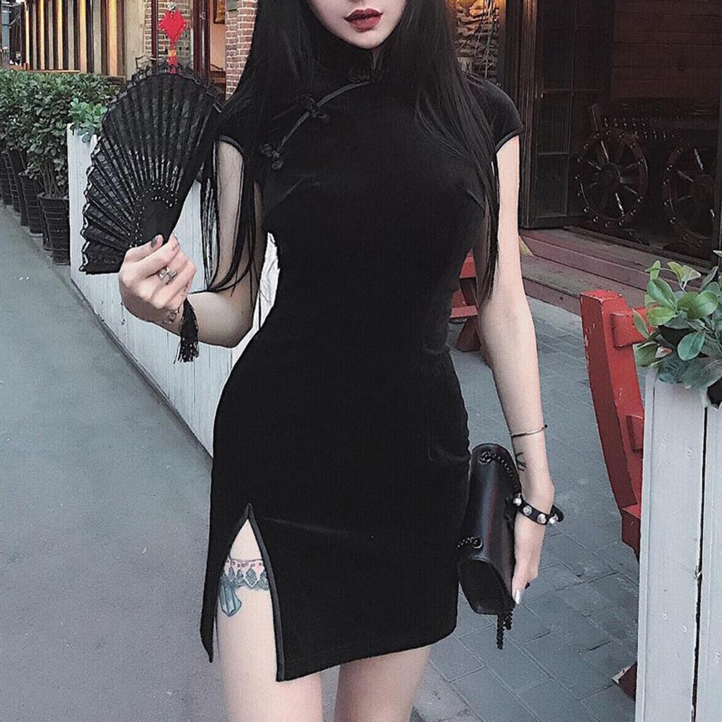 Dress Women Gothic Punk Chinese Cheongsam Harajuku Slim Dress Vintage Split Dress Vestidos For Women d715