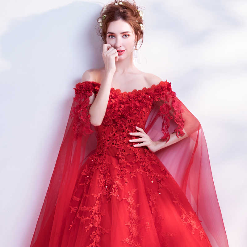 f5c171e9bec17 Evening Dress Elegant Red Boat Neck Long Sleeves Sweep Train Tulle Ball  Gown Lace Sequins Flowers Illusion Party Prom Dress