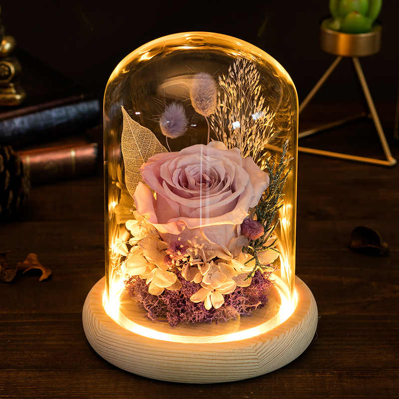 Modern Glass Dome Wooden Base with Light Bedside Table Glass Lamp Flat Dust Bell LED Display Flower Bottom Home Decoration Gift