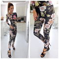Novas bodysuits chegada mulheres flor impresso skinny slim bohemian estilo longsleeve macacão macacão mulheres