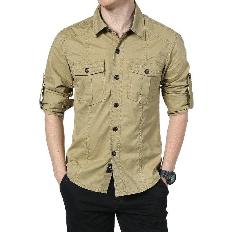 New Men Shirts Tactical Military Shirt Autumn Summer Fitness Long Sleeve Shirt Men's Cotton Shirts Casual Safari Clothes 1591