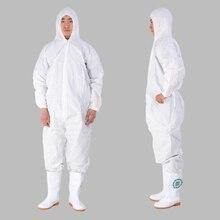 Водонепроницаемая и дышащая мембранная защитная одежда Нетканый комбинезон Пылезащитная одежда Соединённая биологическая белая