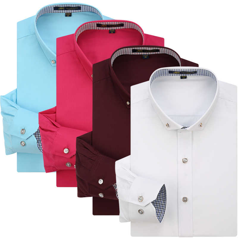 春&秋絹のようなロングスリーブドレスシャツスクエアネック/襟かわいいボタンファッションデザインメンズフォーマルなビジネスシャツ