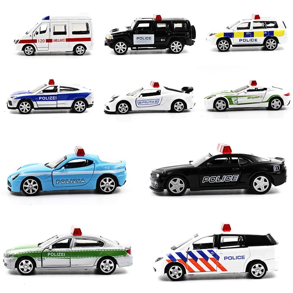 LeadingStar 5Pcs Novelty Mini Police Car Toys With Active Door 1:64 Alloy Pull Back Toy Car Gift Collection Random Style Zk35