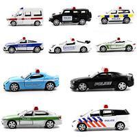 LeadingStar Aktif Kapı ile 5 Adet Yenilik Mini Polis Araba Oyuncaklar 1: 64 Alaşım Geri Çekin Oyuncak Araba Hediye Koleksiyonu Rastgele Tarzı zk35