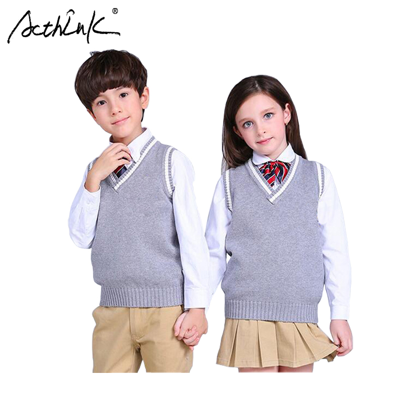 ActhInK New Boys Pullover Vest Brand School Children V-Neck Woolen Vest Sweater for Girls Kids Fall/Winter Knitted Sweater, C322 high neck button embellished knitted sweater