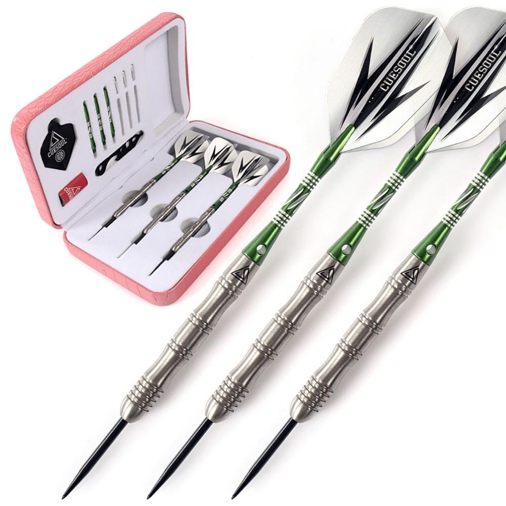 CUESOUL 20g Steel Tip Tungsten Darts 90 Tungsten With Green Dart Shaft Dart Sharpen Pink Luxury