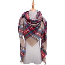 2019 New design winter warm women plaid triangle cashmere striped scarf pashmina female shawls and wraps bandana blanket bandana multi striped bandana