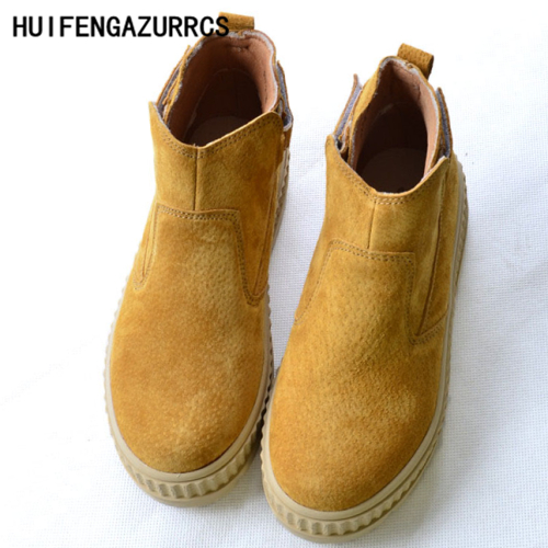 HUIFENGAZURRCS Head layer cowhide pure handmade Carved shoes the retro art mori girl ankle boots Women