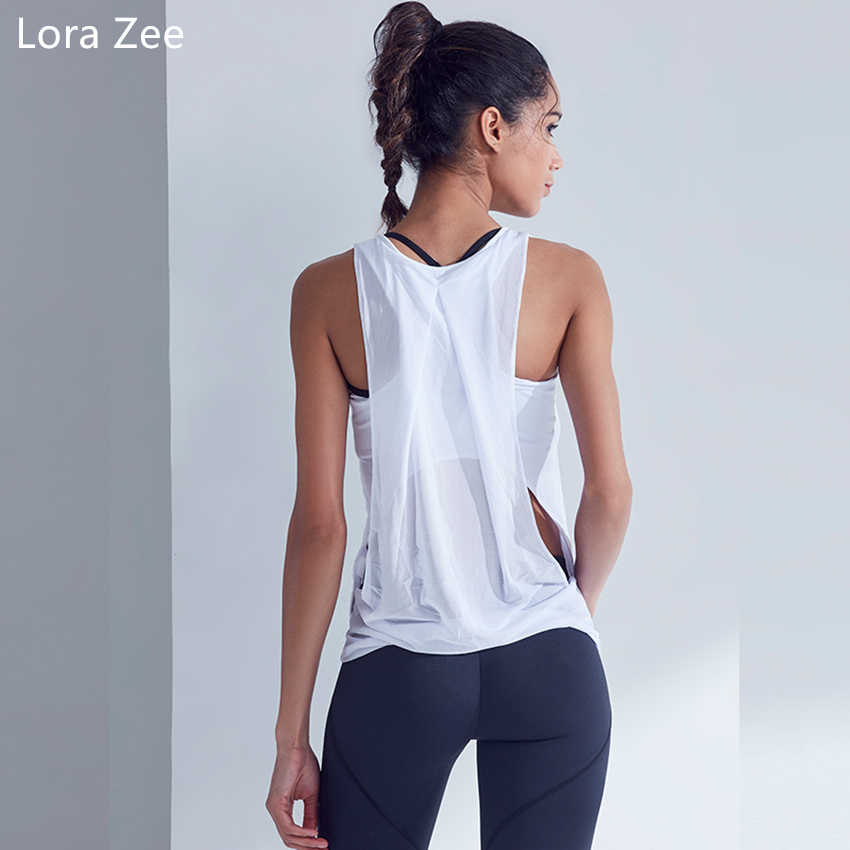 LORA ZEE Sleeveless Yoga Shirts For Women Loose Breathable Quick Dry Yoga Top Fitness Mesh Patchwork Sports Shirts Ladies 2018
