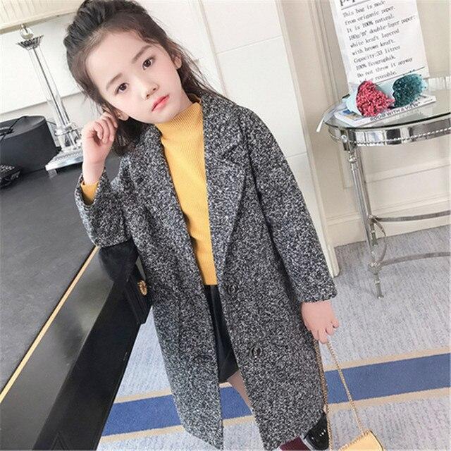 ab84c2ca98ef Kids Girls Wool Coats 2018 Winter Princess Overcoat Trench Solid ...
