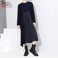 2017 Korean Style Summer Autumn Solid Women Dress Full Sleeve O Neck Cascading Ruffle Pleated Silhouette