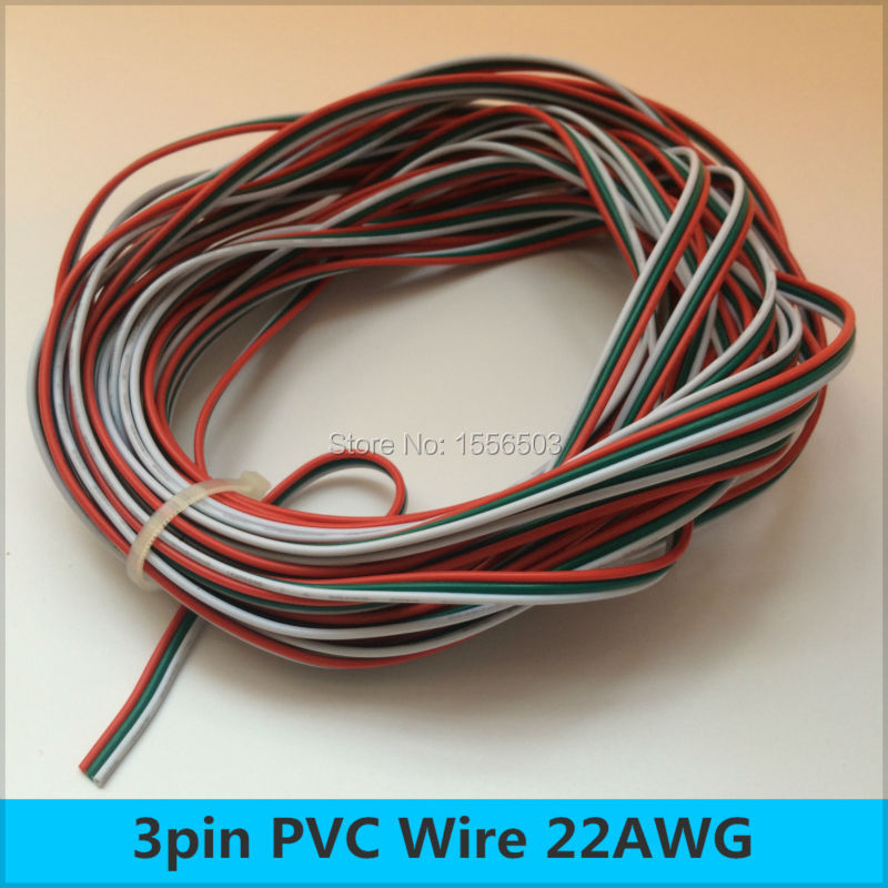 50 meters 3pin red green white cable 22awg wires led. Black Bedroom Furniture Sets. Home Design Ideas
