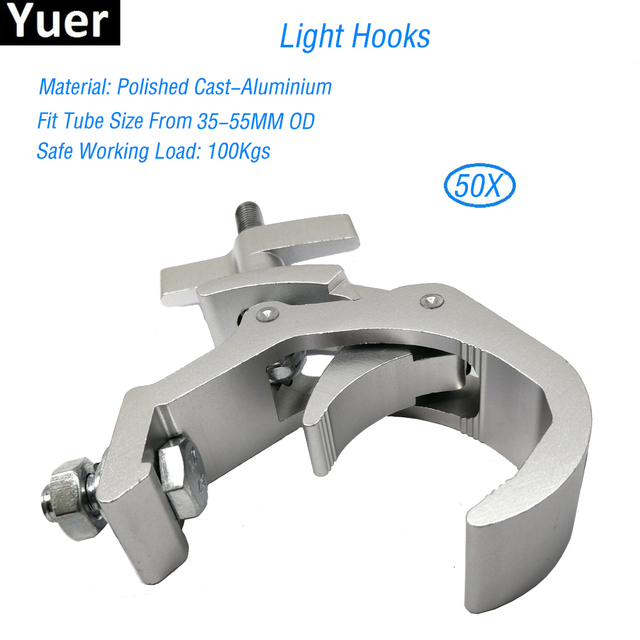 Free Shipping 50pcs/Lot Disco DJ Stage Audio Heavy Duty Light Mounting Aluminum Lamp Hook 35-55mm Truss 100kg Load Capacity