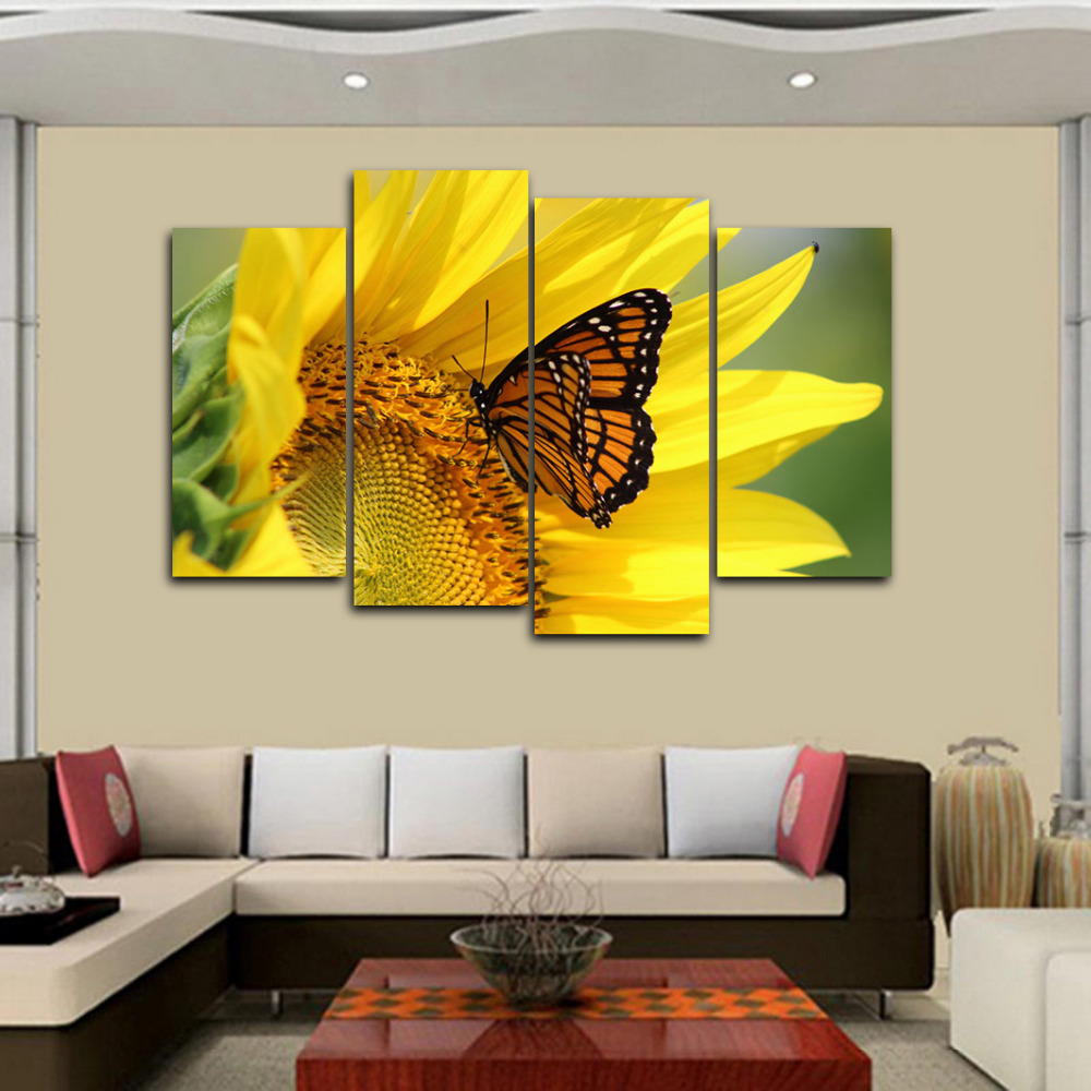 4 Panels Canvas Print Sunflower and Butterfly Painting for Living ...