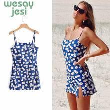Summer Dress 2019 Women Vintage Floral Print Dress Lady Sexy Sleeveless square collar A-line Sling cute mini Dress