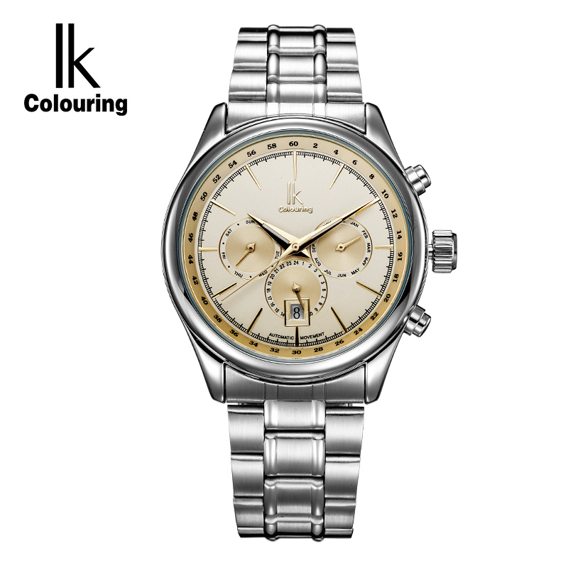 IK Colouring Luxury Brand Automatic self wind Men's Watch Luminous Stainless Steel Multifunction Sub Dial Date Watches Men