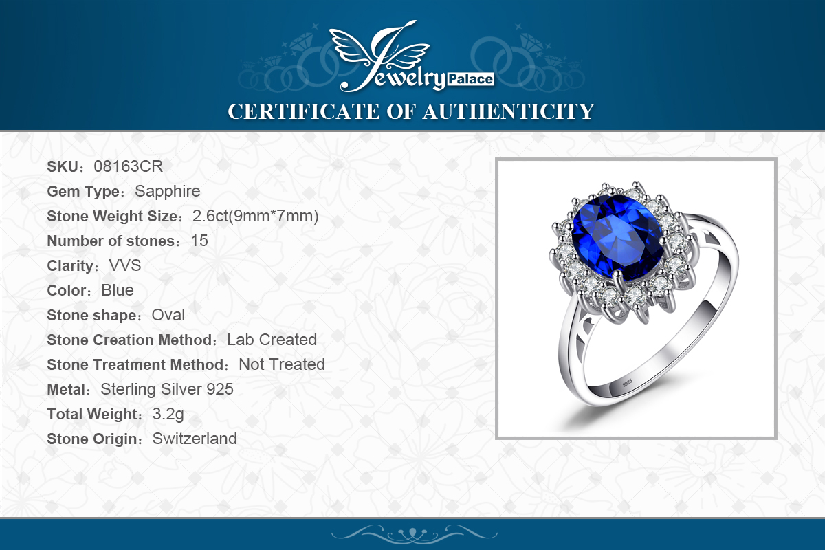 Купить с кэшбэком JewelryPalace Created Blue Sapphire Ring Princess Crown Halo Engagement Wedding Rings 925 Sterling Silver Rings For Women 2020